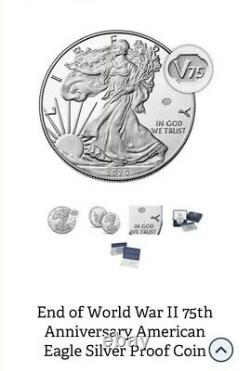 End of World War 2 75th Anniversary American Eagle Silver Proof Coin SEALED