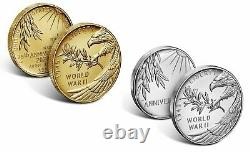 End of World War II 75th Anniversary 24k Gold Coin & Silver Medal Set IN HAND