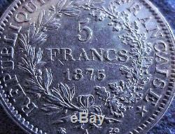 High Grade, UNC. 1875 A, France. 900 Silver, 5 Francs, World Coin, Rare