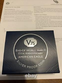 IN HAND End Of World War 2 (WW2) 75th Anniversary Eagle Silver Proof Coin 2020
