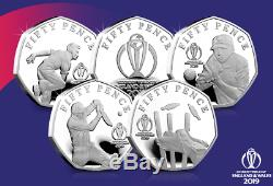 Isle Of Man Official ICC Cricket World Cup 2019 Silver Proof 5x 50p Coin Set
