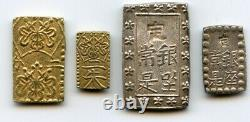 Japan 1832-1868 Old Pre-Meiji coin set Nibu / Nishu gold, Ichibu / Isshu silver