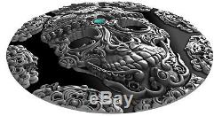 KAPALA SKULL World Cultures 2 oz Silver Coin Antique finish Cameroon 2018