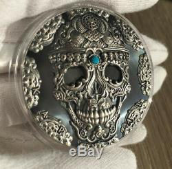 Kapala World Cultures 2 Oz Cameroon 2018 Black Proof Turquoise silver 999 coin