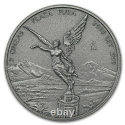 LIBERTAD MEXICO 2018 2 oz Antique Silver Coin in Capsule