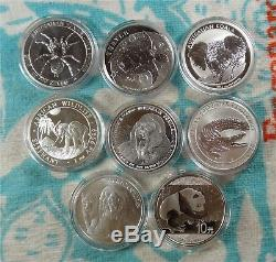 Lot of 8 1 oz. 999 999 Fine Silver Animal Coins from Various World Mints