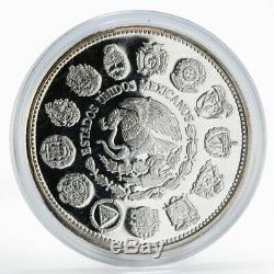 Mexico 100 pesos Encounter of two Worlds Columnaria proof silver coin 1992
