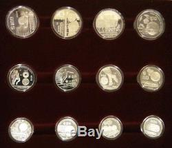 Mexico 1986 Soccer World Cup Set Of 12 Silver Proof Coins Certificate/box