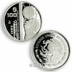Mexico set of 3 coins 1986 World Championship of Football silver proof coin 1985