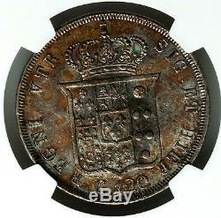 NGC AU WORLD SILVER Italy, Naples. 1840 Ferdinand II 120 Grana. Italian Coin