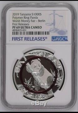 NGC PF69 2019 Berlin world Money Fair Polymer Ring 1oz Silver panda coin COA