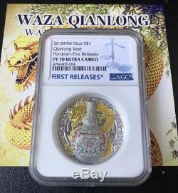 NGC PF70 2018 Niue $1 QIANLONG VASE World Most Expensive Porcelain Silver Coin