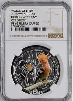 NIUE. 999 Silver Coin Hoopoe DUDEK ZWYCZAJNY COLORIZED WORLD OF BIRDS NGC PF 69