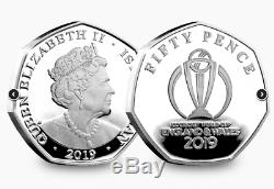 New Isle Of Man Official ICC Cricket World Cup 2019 Silver Proof 5x 50p Coin Set
