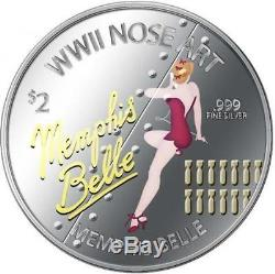 Niue 2012 $2 WWII Nose Art World War 2 Bombers 3 x 1 Oz Silver Proof Coin Set