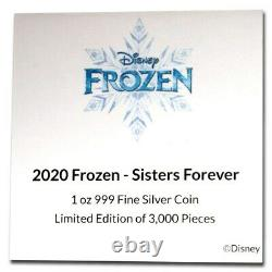 Niue 2020 1 OZ Silver Proof Coin- Disney Frozen Elsa and Anna Frozen