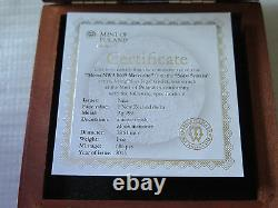 Niue Islands 2015, MOON Meteorite, $1, ONLY 686 MADE! Antique + box! NWA 8609