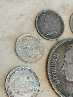 Old Vintage Antique Foreign Coin Lot Collection of Old World SILVER Coins