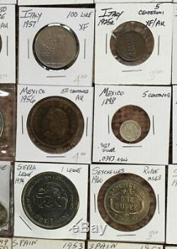 Over 100 WORLD COINS Incl 1700s, 1800s Silver, Crowns, BU Proof And Better Circ