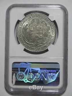 Peru 1882 M LM 5 Pesetas Ayacucho 5 Pesetas Ngc Unc-details World Coin Rare