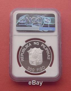 Philippines 1987 World Wildlfe Fund 200 Piso Silver Proof Coin NGC PF68UC