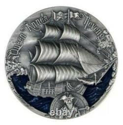 QUEEN ANNE'S REVENGE 2019 2000 CFA 2 oz High Relief Pure Silver Coin Cameroon