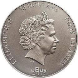 QUETZALCOATL Gods Of The World 3 Oz Silver Coin 20$ Cook Islands 2017