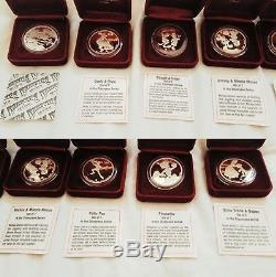 RARE Complete Set of 7 Disneyana Disney Around the World 1998 1oz. Silver Coins