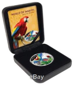 SCARLET MACAW WORLD OF PARROTS 2016 $5 Silver Proof 3D Coin Cook Islands