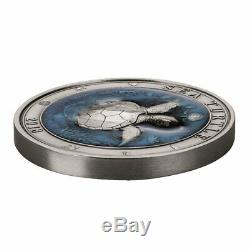 Sea Turtle Underwater World 3 oz Antigue finish Silver Coin 5$ Barbados 2018