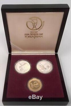Set of 3 Gold and Silver coins FIFA World Cup Soccer Football Box Korea Japan
