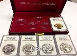 South Korea 2002 Colorized Set 5 Gold/Silver Coins FIFA World Cup Soccer NGC Box
