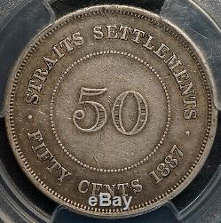 Straits Settlements 1887 50C PCGS VF35 Scarce World Silver Coin