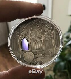 TIFFANY ART Decorated Coin 2017 Palau 2oz Silver $10 WELLS CATHEDRAL World 999pc
