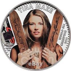 TINA MAZE Official License World Ski Champion Silver Coin 5$ Cook Islands 2013