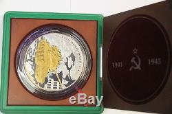 Tanks Of World War II Russian T-34- 1 KG Silver Gold Plated Proof Coin