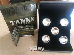 Tanks of World War Il TUVALU Silver $1 Colorized Proof 5 coin set Box & COA 2010