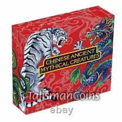 Tuvalu 2016 Ancient Chinese Mythical Creatures Dragon Tiger $1 1 Oz Silver Proof