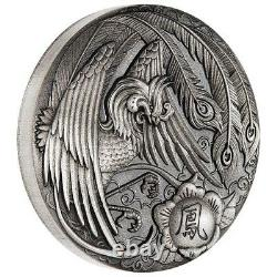 Tuvalu 2018 Phoenix Chinese Mythical Creatures $2 2 Oz Silver Antiqued FULL OGP