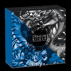Tuvalu 2021 Dragon & Tiger Bagua $2 Oz Pure Silver High Relief Antiqued Piedfort