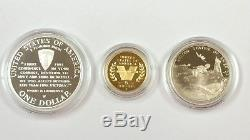Us Mint 1991 Gold & Silver 3-coin World War II 50th Anniversary Proof Set Coa
