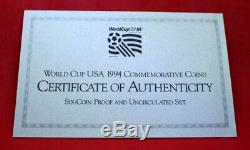 Us Mint 1994 World Cup USA Gold & Silver Proof Commemorative 6 Coin Set Coa