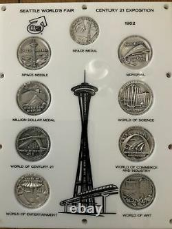 Vintage 1962 Seattle Worlds Fair. 999 SILVER Coin Set 8 Medals Plus Space Medal
