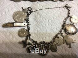 Vintage Sterling Silver Charm Bracelet Lot of 3 World Coins, Enamel, Airplane, Bo