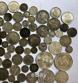 Vintage To Modern World Silver Foreign Coins Lot 1 Pound