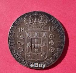 WORLD COIN BRAZILIAN 100% SILVER COIN 960 REIS 1818- João Prince Regent