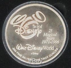 Walt Disney World 25 Magical Years 5oz Silver Coin Limited Edition #0480/2500