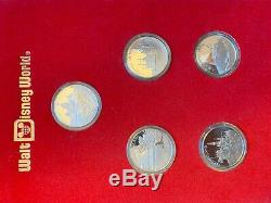 Walt Disney World Master Proof Set 5 Silver Coins Great Condition