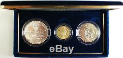 World War II 50th Ann. 3 Coin UNC Set, with Gold and Silver, US Mint In Box-No COA