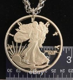 Worlds Largest Cut Coin 2018 USA ASE Silver Eagle Bullion Dollar Bling Necklace